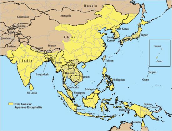 Japanische Enzephalitis Gebiete